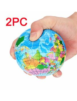 Mumustar 2 Pc Globe Earth Squishy Toy Printed World Map Foam Ball Atlas Globe Palm Ball Planet Earth Ball Educational Squishys Toy Kids Adults Stress Fidget Toy Gift 6.3cm by Mumustar