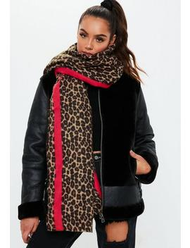 Brown Leopard Stripe Scarf by Missguided
