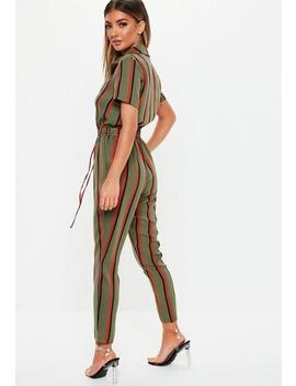 Khaki Stripe Short Sleeve Jumpsuit by Missguided