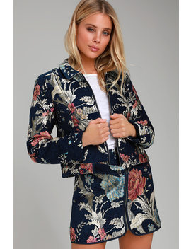 Brocade Betty Navy Blue Floral Print Jacket by Jack By Bb Dakota