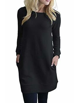 Lucky More Womens Raglan Long Sleeve Casual Loose Tunic Sweatshirts V Notch Pocket Dress by Lucky More