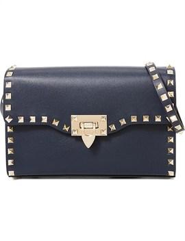 Rockstud Gold Stud Medium Leather Shoulder Bag by Valentino