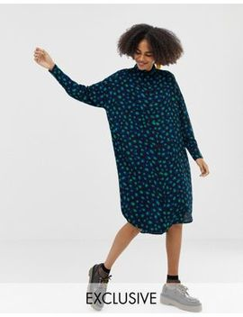 Monki Midi Shirt Dress Leopard Print In Blue And Green by Monki