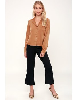 In The Biz Camel Satin Long Sleeve Button Up Top by Lulus