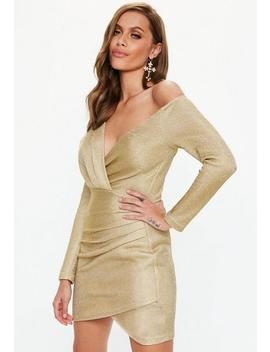 Gold Off Shoulder Knitted Wrap Mini Dress by Missguided