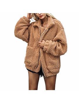Women Faux Shearling Coat Oversized Zip Winter Fuzzy Fleece Teddy Bear Jacket by Hahasole