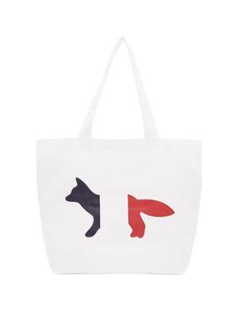 White Tricolor Fox Tote by Maison KitsunÉ