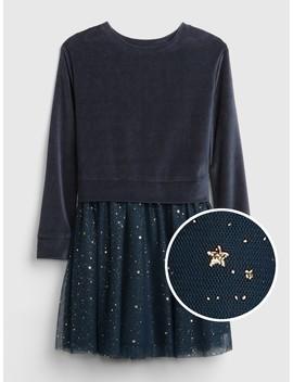 Velvet Tulle Mix Fabric Dress by Gap