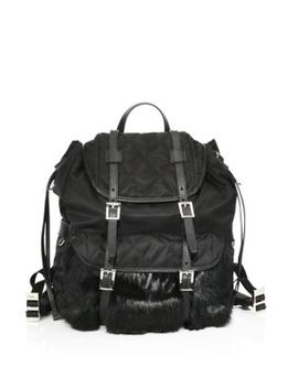Rabbit Fur & Nylon Backpack by Prada