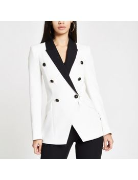 White Double Breasted Contrast Tux Jacket by River Island
