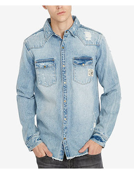 Men's Distressed Denim Shirt by Buffalo David Bitton