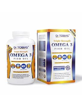 Dr. Tobias Omega 3 Fish Oil Triple Strength, Burpless, Non Gmo, Nsf Certified, 180 Counts by Ftw Nutritional Supplements