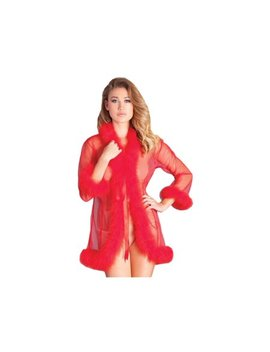 Be Wicked Bw1650 Srd Marabou Robe O/S / Red by Be Wicked