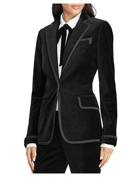 Faille Trim Velvet Blazer by Lauren Ralph Lauren