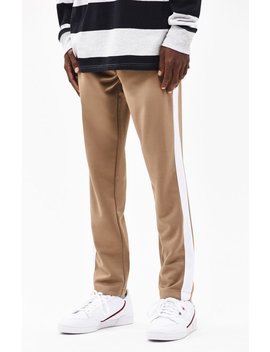 Pac Sun Side Stripe Tricot Tan Track Pants by Pacsun