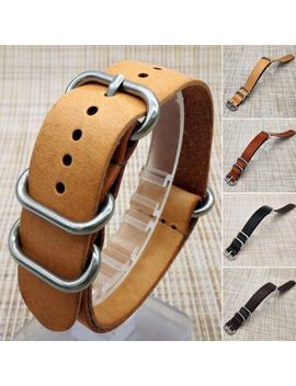 New Mens Genuine Leather Army Military Buckle Watch Strap Band 18mm/20mm/22mm by Unbranded