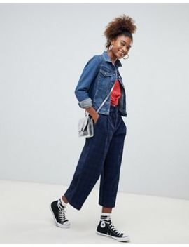 Pull&Bear Blue Check High Waist Wide Leg Crop Pants by Pull&Bear
