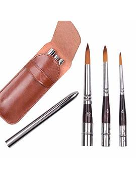 3 Pcs Art Travel Painting Brush Synthetic Sable Round Hair Short Handle Brush For Acrylic Oil And Watercolor Painting by Gp