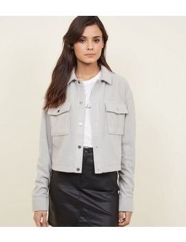 Pale Grey Fleece Utility Jacket by New Look