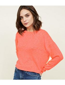 Coral Neon Slub Fine Knit Boxy Top by New Look