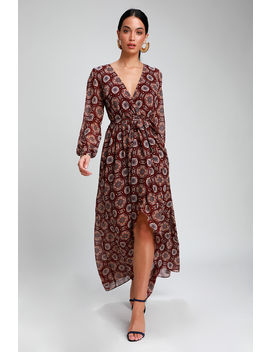 Art And Soul Burgundy Multi Print Long Sleeve High Low Dress by Lulus