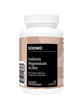 Amazon Brand   Solimo Calcium, Magnesium & Zinc, 150 Caplets, Calcium 1000mg, Magnesium 400mg,... by Solimo