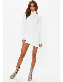 Petite White Roll Neck Ribbed Knitted Mini Dress by Missguided