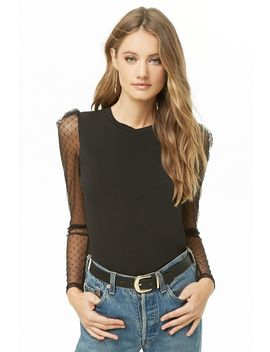 Swiss Dot Puff Sleeve Top by Forever 21