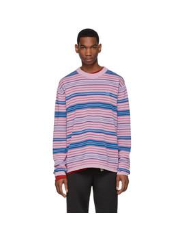 Pink & Blue Stripe Nimah Sweater by Acne Studios