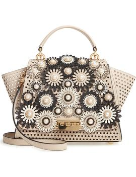 Eartha Laser Cut Flowers Medium Leather Bag by Zac Zac Posen