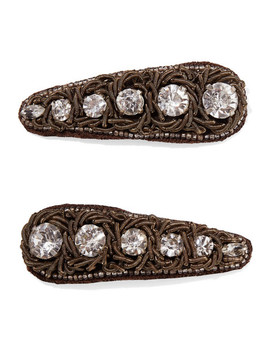 Set Of Two Embellished Canvas And Silver Plated Hair Clips by Ranjana Khan
