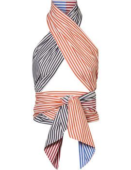Cutout Striped Cotton Poplin Wrap Top by Mds Stripes