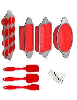 Silicone Baking Molds, Pans And Utensils (Set Of 13) By Boxiki Kitchen | Silicone Cake Pan, Brownie Pan, Loaf Pan, Muffin Mold, 2 Spatulas, Brush And 6 Measuring Spoons by Boxiki Kitchen