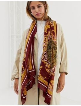 New Look Baroque Print Scarf In Dark Burgundy by New Look