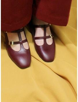 Iginoa Double T Strap Loafer   Burgundy by Garmentory