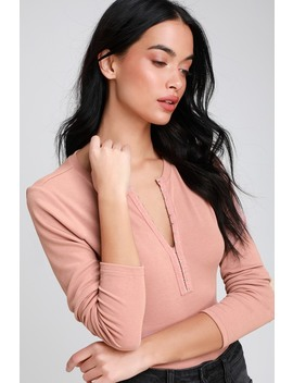 Hook Me Up Blush Hook And Eye Ribbed Long Sleeve Top by Lulus