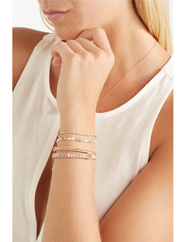 Set Of Two Gold Plated Multi Stone Bracelets by Chan Luu