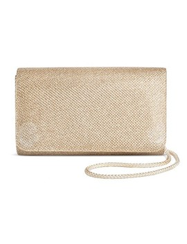 Women's Shimmer Small Flap Clutch Handbag Gold   Tevolio™ by Tevolio