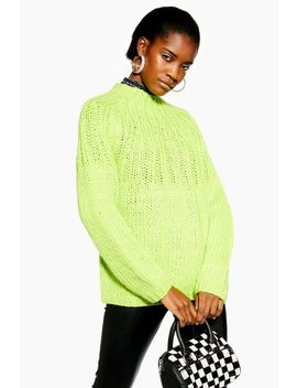 Lime Handknit Jumper by Topshop