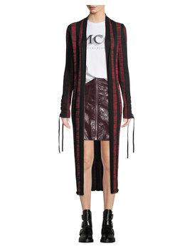 Bodycon Striped Lace Up Cardigan by Mc Q Alexander Mc Queen