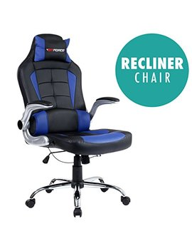 Gtforce Blaze Reclining Leather Sports Racing Office Desk Chair Gaming Computer (Blue) by Gtforce (Tm)