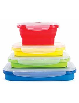 Thin Bins Collapsible Containers – Set Of 4 Square Silicone Food Storage Containers – Bpa Free, Microwave, Dishwasher And Freezer Safe   No More Cluttered Container Cabinet! by Amazon