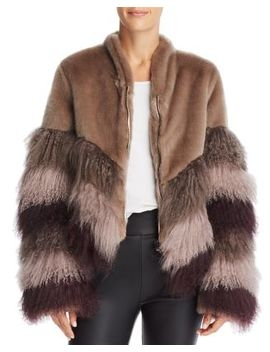 Color Blocked Fur Coat by Urbancode