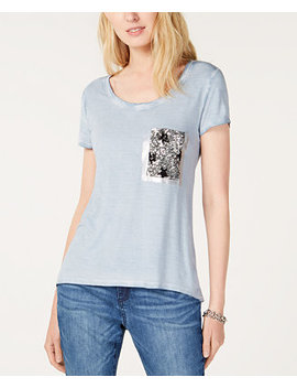 I.N.C. Sequined Glitter Block T Shirt, Created For Macy's by Inc International Concepts