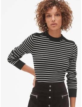 Stripe Long Sleeve Button Shoulder T Shirt In Modal by Gap