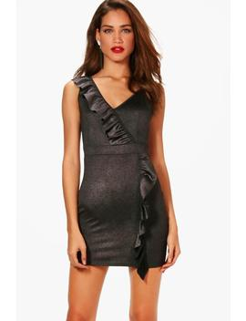 Metallic Ruffle Detail Bodycon Dress by Boohoo