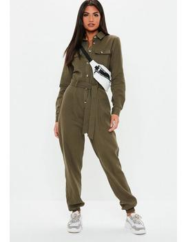 Khaki Utility Long Sleeve Jumpsuit by Missguided