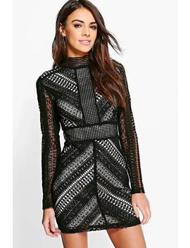 Boutique Crochet Panelled Bodycon Dress by Boohoo