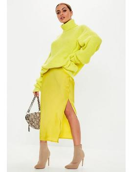 Lime Satin Slip Midi Skirt by Missguided