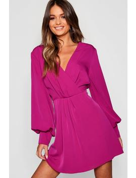Wrap Blouson Skater Dress by Boohoo